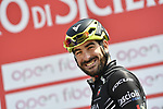 Riccardo Stacchiotti (ITA) Giotti Victoria at sign on before the start of Stage 4 of Il Giro di Sicilia 2019 running 119km from Giardini Naxos to Mount Etna (Nicolosi), Italy. 6th April 2019.<br /> Picture: LaPresse/Fabio Ferrari | Cyclefile<br /> <br /> All photos usage must carry mandatory copyright credit (&copy; Cyclefile | LaPresse/Fabio Ferrari)