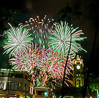 Fireworks light up the night sky to celebrate July 4 at the Aloha Tower Marketplace in Honolulu, O'ahu.