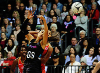 Maria Tutaia stretches for a pass during the Taini Jamieson Trophy Series netball match between the New Zealand Silver Ferns and England Roses at Claudelands Arena in Hamilton, New Zealand on Wednesday, 13 September 2017. Photo: Dave Lintott / lintottphoto.co.nz