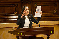 C's party spokeswoman Ines Arrimadas speaks after the Catalan president Carles Puigdemont  speech at Catalan Parlament to declare and then postpone the Independence of Catalunya. Catalonia. In Barcelona on October 10, 2017.