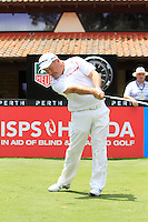 Damien McGrane (IRL) on the 1st tee during Round 1 of the ISPS HANDA Perth International at the Lake Karrinyup Country Club on Thursday 23rd October 2014.<br /> Picture:  Thos Caffrey / www.golffile.ie