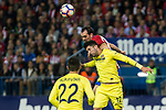 Diego Godin of Atletico de Madrid battles for an aerial ball Alvaro Gonzalez of Villarreal during the match of La Liga between Atletico de Madrid and Villarreal at Vicente Calderon  Stadium  in Madrid, Spain. April 25, 2017. (ALTERPHOTOS/Rodrigo Jimenez)