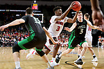 SIOUX FALLS, SD - MARCH 8: Triston Simpson #3 of the South Dakota Coyotes drives to the basket between Gertautas Urbonavicius #32 and Billy Brown #3 of the North Dakota Fighting Hawks at the 2020 Summit League Basketball Championship in Sioux Falls, SD. (Photo by Dave Eggen/Inertia)