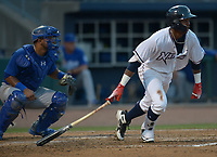 NWA Democrat-Gazette/ANDY SHUPE<br /> Northwest Arkansas Naturals left fielder Khalil Lee connects for an RBI single to score designated hitter Anderson Miller against the Tulsa Drillers Wednesday, July 11, 2018, during the fourth inning at Arvest Ballpark in Springdale. Visit nwadg.com/photos to see more photographs from the game.