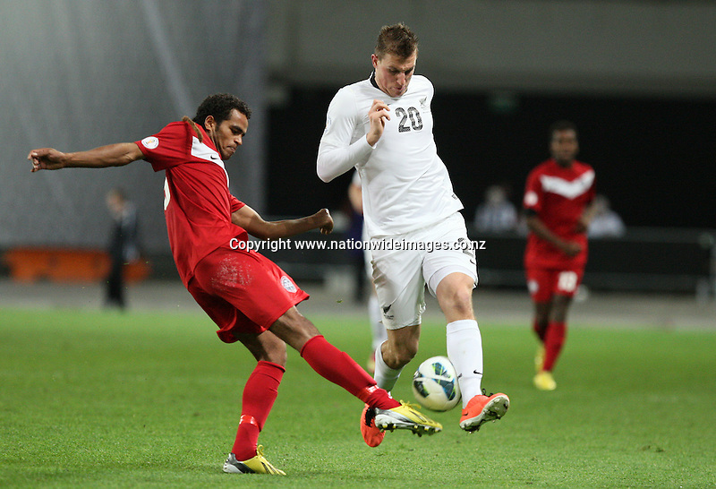 New Zealand's Chris Wood against New Caledonia in the 2014 FIFA World Cup Brazil Oceania qualifier, Forsyth Barr Stadium, Dunedin, New Zealand, Friday, March 22, 2013. Credit:NINZ/Dianne Manson