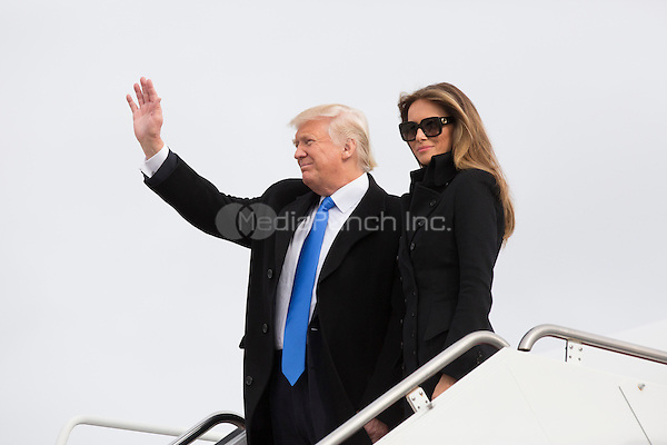President-elect of The United States Donald J. Trump and First Lady-elect Melania Trump arrive Joint Base Andrews in Maryland January 19, 2017the day before his swearing in as 45th President of The United States. <br /> Credit: Chris Kleponis / Pool via CNP /MediaPunch