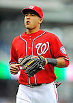 1 May 2011: Washington Nationals infielder Ian Desmond trots back to the dugout during a game against the San Francisco Giants at Nationals Park in Washington, District of Columbia. The Nationals defeated the Giants 5-2. Mandatory Credit: Ed Wolfstein Photo