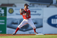 Batavia Muckdogs second baseman Giovanny Alfonzo (8) turns a double play during a game against the Williamsport Crosscutters on July 15, 2015 at Dwyer Stadium in Batavia, New York.  Williamsport defeated Batavia 6-5.  (Mike Janes/Four Seam Images)