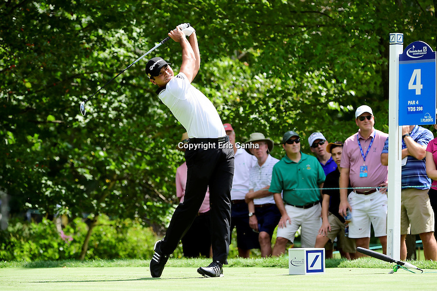 Friday, September 2, 2016:  Jason Day of Australia hits his shot from the 4th tee box during the first round of the Deutsche Bank Championship tournament held at the Tournament Players Club, in Norton, Massachusetts.  Eric Canha/Cal Sport Media