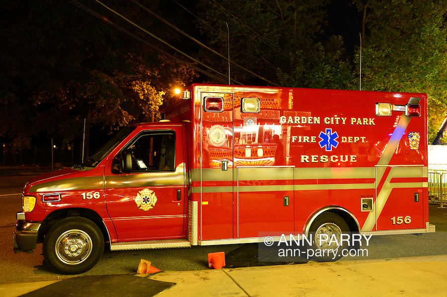A Garden City Park Fire Dept. Rescue truck is parked near the street, during the first day of the annual Herricks Community Fund Spring Carnival, which raises funds for programs that enrich the community and school district. The Long Island carnival runs through June 2.