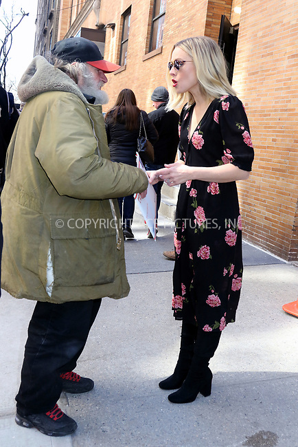 www.acepixs.com<br /> <br /> March 23 2017, New York City<br /> <br /> Actress Kristen Bell chats to Radio Man as she leaves ABC Studios on March 23 2017 in New York City<br /> <br /> By Line: Philip Vaughan/ACE Pictures<br /> <br /> <br /> ACE Pictures Inc<br /> Tel: 6467670430<br /> Email: info@acepixs.com<br /> www.acepixs.com