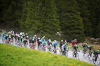 peloton descending the Passo San Pellegrino (1918m) in the rain, with pink jersey Nairo Quintana (COL/Movistar) nicely in the pack<br /> <br /> 2014 Giro d'Italia<br /> stage 18: Belluno - Rifugio Panarotta (Valsugana), 171km