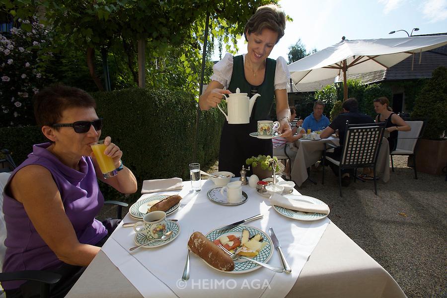 Landhaus Bacher, the legendary restaurant of Austria's doyenne of fine cuisine Lisl Wagner-Bacher, celebrates its first 30 years. Breakfast at the restaurant garden.