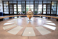 Swinging Foucault pendulum in the Hameetman Science Center lobby, Oct. 15, 2018.<br />