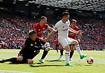 Edwin Van Der Saar and Ryan Giggs combine to foil Robbie Keane during the Michael Carrick Testimonial match at the Old Trafford Stadium, Manchester. Picture date: June 4th 2017. Picture credit should read: Simon Bellis/Sportimage