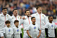 Jonny May, George Ford, Danny Care and Owen Farrell of England sing the national anthem. Natwest 6 Nations match between France and England on March 10, 2018 at the Stade de France in Paris, France. Photo by: Patrick Khachfe / Onside Images