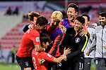Kim Jinsu of South Korea (bottom) celebrates after scoring his goal with his teammates during the AFC Asian Cup UAE 2019 Round of 16 match between South Korea (KOR) and Bahrain (BHR) at Rashid Stadium on 22 January 2019 in Dubai, United Arab Emirates. Photo by Marcio Rodrigo Machado / Power Sport Images