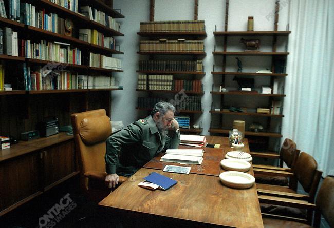 Fidel Castro, President of Cuba, in his studio. Havana, Cuba, August, 1985<br />