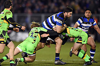 Matt Banahan of Bath Rugby takes on the Northampton Saints defence. Aviva Premiership match, between Bath Rugby and Northampton Saints on February 9, 2018 at the Recreation Ground in Bath, England. Photo by: Patrick Khachfe / Onside Images