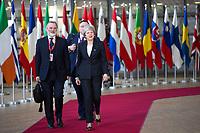 La Premi&egrave;re ministre du Royaume-Uni Theresa May arrive au Sommet europ&eacute;en &agrave; Bruxelles.<br /> Belgique, Bruxelles, 13 d&eacute;cembre 2018. <br /> Prime Minister of the United Kingdom Theresa May, attends the EU summit meeting, at the European Union headquarters in Brussels.<br /> Belgium, Brussels, 13 December 2018.