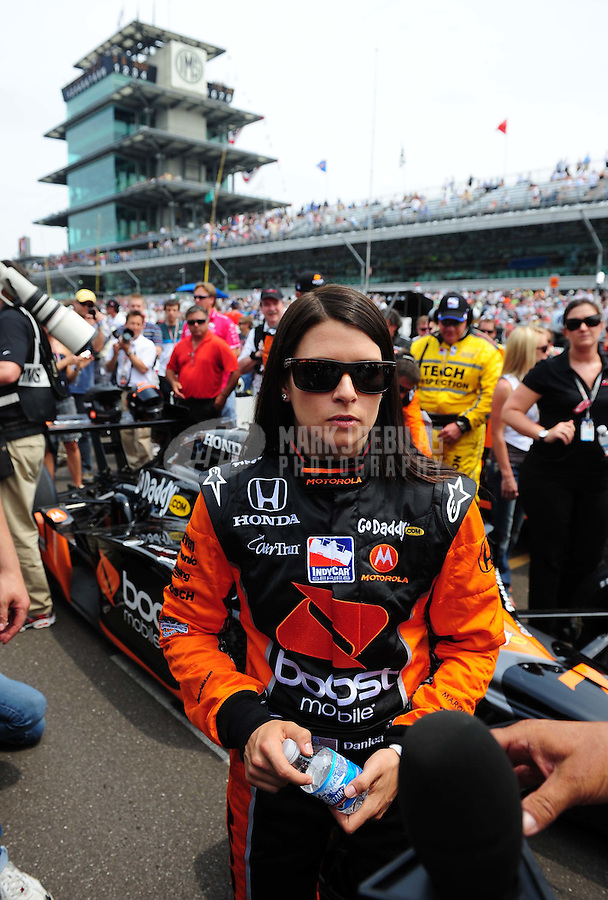 May 24, 2009; Indianapolis, IN, USA; IRL driver Danica Patrick prior to the 93rd running of the Indianapolis 500 at Indianapolis Motor Speedway.  Mandatory Credit: Mark J. Rebilas-