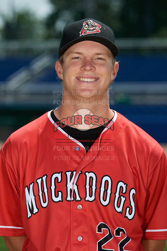 Batavia Muckdogs pitcher RJ Peace (22) poses for a photo on July 2, 2018 at Dwyer Stadium in Batavia, New York.  (Mike Janes/Four Seam Images)
