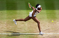 Venus Williams (10) of United States in action during her victory over Johanna Konta of Great Britain in their Ladies' Singles Semi Final Match today<br /> <br /> Photographer Ashley Western/CameraSport<br /> <br /> Wimbledon Lawn Tennis Championships - Day 10 - Thursday 13th July 2017 -  All England Lawn Tennis and Croquet Club - Wimbledon - London - England<br /> <br /> World Copyright &not;&copy; 2017 CameraSport. All rights reserved. 43 Linden Ave. Countesthorpe. Leicester. England. LE8 5PG - Tel: +44 (0) 116 277 4147 - admin@camerasport.com - www.camerasport.com