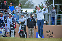 Jim Furyk (USA) watches his tee shot on 10 during Round 3 of the Valero Texas Open, AT&amp;T Oaks Course, TPC San Antonio, San Antonio, Texas, USA. 4/21/2018.<br /> Picture: Golffile | Ken Murray<br /> <br /> <br /> All photo usage must carry mandatory copyright credit (&copy; Golffile | Ken Murray)