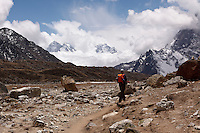 On the trail down to Lobuche from Everest Base Camp and the village of Gorek Shep in the Himalayan Mountains of Nepal.