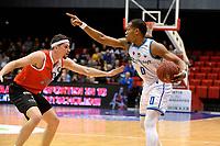 GRONINGEN - Basketbal, Donar - Feyenoord,  beker ,seizoen 2019-2020, 22-01-2020,  overgespeelde bekerwedstrijd, Donar speler Matt Williams Jr met Feyenoord speler Michael Kok