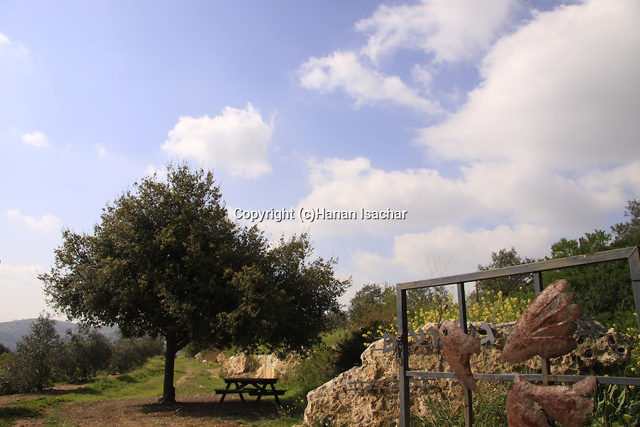 Israel, Jerusalem Mountains, a memorial corner for Yitzhak Rabin on Mount Tzuba