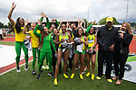 EUGENE, OR - JUNE 10: The University of Oregon celebrates their victory during the Division I Women's Outdoor Track & Field Championship held at Hayward Field on June 10, 2017 in Eugene, Oregon. Oregon won the team national title with 64 points. (Photo by Jamie Schwaberow/NCAA Photos via Getty Images)