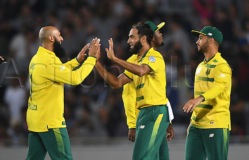 February 17th 2017,  Imran Tahir celebrates the wicket of Munro. International Twenty20 Cricket. New Zealand Black Caps v South Africa, Eden Park, Auckland, New Zealand. Friday 17 February 2017