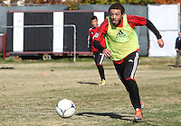 WASHINGTON, DC - NOVEMBER 14, 2012: Nick DeLeon (18) of DC United during a practice session before the second leg of the Eastern Conference Championship at DC United practice field, in Washington, DC on November 14.