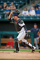Jacksonville Jumbo Shrimp catcher Santiago Chavez (13) during a Southern League game against the Mobile BayBears on May 28, 2019 at Baseball Grounds of Jacksonville in Jacksonville, Florida.  Mobile defeated Jacksonville 2-1.  (Mike Janes/Four Seam Images)