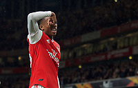 Joe Willock of Arsenal celebrates scoring a goal 3-0 during the UEFA Europa League match between Arsenal and Standard Liege at the Emirates Stadium, London, England on 3 October 2019. Photo by Andrew Aleks.