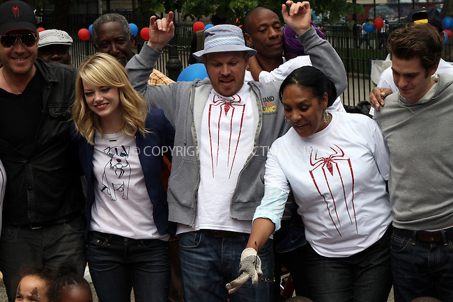 WWW.ACEPIXS.COM . . . . .  ....June 26 2012, New York City....(L-R) Emma Stone, Director Marc Webb and Andrew Garfield at the 'Be Amazing' Stand Up Volunteer Initiative at Madison Boys And Girls Club on June 26, 2012 in Brooklyn, New York City. ....Please byline: Zelig Shaul - ACE PICTURES.... *** ***..Ace Pictures, Inc:  ..Philip Vaughan (212) 243-8787 or (646) 769 0430..e-mail: info@acepixs.com..web: http://www.acepixs.com