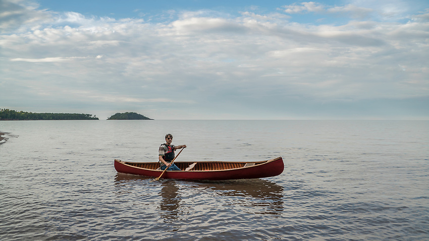 Canoeing Lake Superior near Marquette, Michigan.