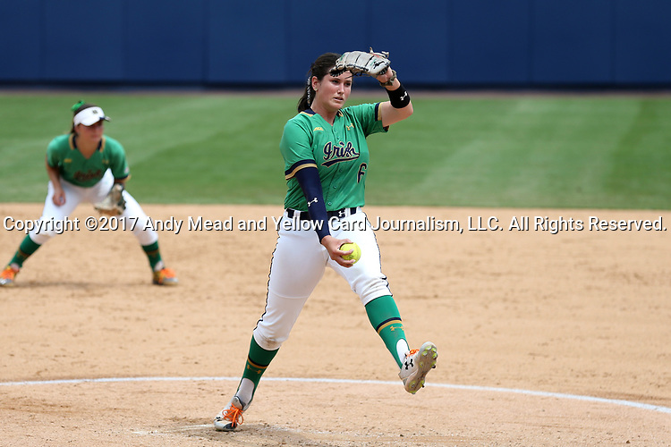 CHAPEL HILL, NC - MAY 11: Notre Dame's Rachel Nasland takes over in the circle in the fourth inning as a relief pitcher. The #4 Boston College Eagles played the #5 University of Notre Dame Fighting Irish on May 11, 2017, at Anderson Softball Stadium in Chapel Hill, NC in a 2017 Atlantic Coast Conference Tournament Quarterfinal Softball game. Notre Dame won the game 9-5 in eight innings.
