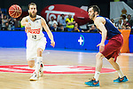 Real Madrid's player Sergio Rodriguez and Barcelona's player Pau Ribas during Liga Endesa 2015/2016 Finals 3rd leg match at Barclaycard Center in Madrid. June 20, 2016. (ALTERPHOTOS/BorjaB.Hojas)