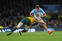 Facundo Isa of Argentina is tackled by Scott Fardy of Australia during the Semi Final of the Rugby World Cup 2015 between Argentina and Australia - 25/10/2015 - Twickenham Stadium, London<br /> Mandatory Credit: Rob Munro/Stewart Communications