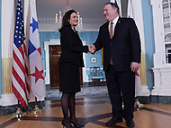 Washington, DC - February 4, 2019: U.S. Secretary of State Mike Pompeo meets with Panamanian Vice President and Foreign Minister Isabel Saint Malo at the State Department in Washington, DC February 4, 2019.  (Photo by Lenin Nolly/Media Images International)