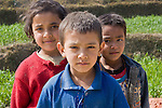Three children in rural area outside Bhaktapur, Nepal