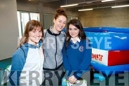 Emily Barrett (Causeway Comprehensive Secondary School), Jasmine Griffin (Coláiste Gleann Lí, Tralee) and Sophie Flynn Causeway Comprehensive Secondary School), pictured at IT Tralee Open Day on Friday last.