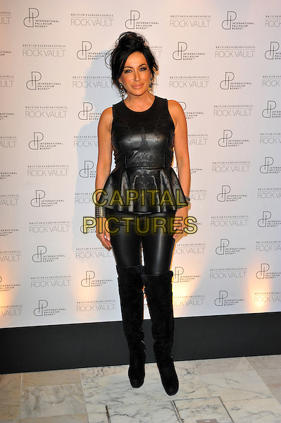 Nancy Dell'Olio.London Fashion Week Palladium Visions party at Home House, London, England..September 17th, 2012 .LFW full length black top leather sleeveless peplum trousers knee high boots  .CAP/CJ.©Chris Joseph/Capital Pictures.