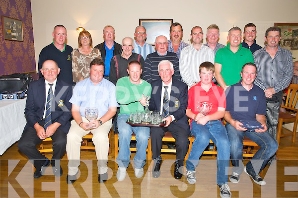 Tim Scannell, President Killorglin Golf Club, pictured as he presented his first prize to David White, winner of the Presidents Prize at Killorglin Golf Club on Sunday. Also pictured are Jer Joy, captain, Aidan Spillane, 3rd, Daragh Carmody, 2nd, Ian Foley, 4th, back, Robert Gallagher, Category B, Nuala McEnery, ladies 2nd, Damien McLoughlin, 7th, Denis Diggin, hole in one, Brendan Murray, category C, Pat Lynch, past president, Pat Sheahan, 8th, Joe Kennedy, course, Milly Myles guest, Jason Foley, 5th, Ciaran Doyle, junior and Danny Evans, 6th.............................................................................................................