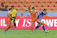 Houston, TX - Wednesday June 28, 2017: Morgan Brian and Emilie Haavi battle for the ball during a regular season National Women's Soccer League (NWSL) match between the Houston Dash and the Boston Breakers at BBVA Compass Stadium.