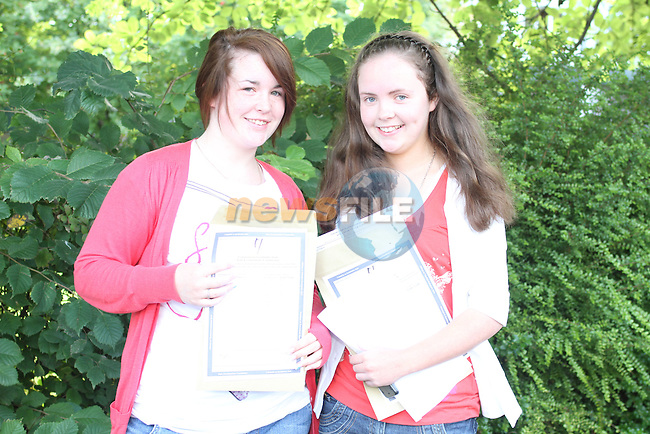 Kayleigh Campbell and Naomi Reid after getting their Leaving Certificate Results at Greenhills School. ..Picture Jenny Matthews/Newsfile.ie