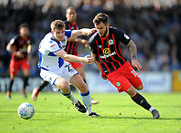 Bristol Rovers' Tony Craig battles with Blackburn Rovers' Adam Armstrong<br /> <br /> Photographer Ashley Crowden/CameraSport<br /> <br /> The EFL Sky Bet League One - Bristol Rovers v Blackburn Rovers - Saturday 14th April 2018 - Memorial Stadium - Bristol<br /> <br /> World Copyright &copy; 2018 CameraSport. All rights reserved. 43 Linden Ave. Countesthorpe. Leicester. England. LE8 5PG - Tel: +44 (0) 116 277 4147 - admin@camerasport.com - www.camerasport.com