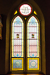stained glass window, interior of Zion Lutheran Church, Valley City,, Ohio, USA